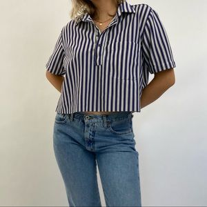 Vintage Navy & White Striped Cropped Collared Top